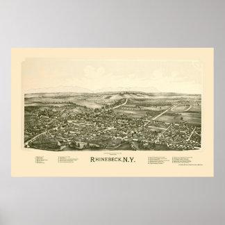 Rhinebeck, mapa panorámico de NY - 1890 Póster