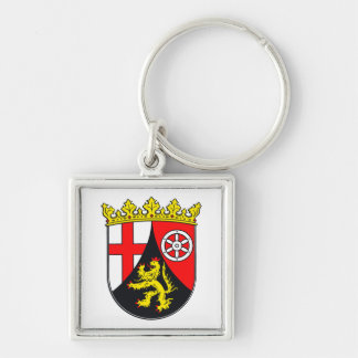Rhineland-Palatinate coat of arms Silver-Colored Square Keychain
