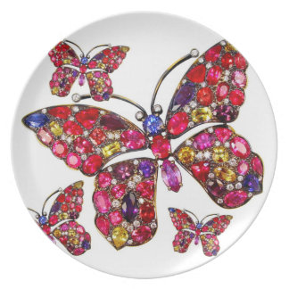 Rhinestone Butterfly Costume Jewelry Picnic Bling Melamine Plate