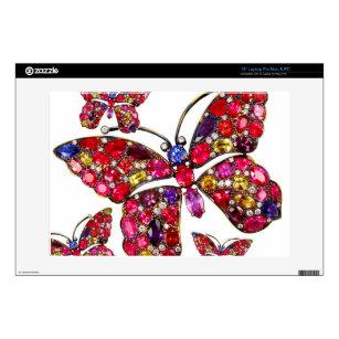 "Rhinestone Butterfly Vintage Costume Jewelry 13"" Laptop Skin"