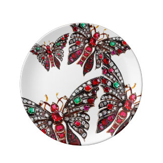 Rhinestone Butterfly Vintage Costume Jewelry Pins Dinner Plate