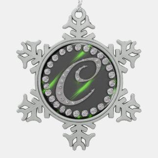 """rhinestone """"c"""" snowflake pewter christmas ornament"""