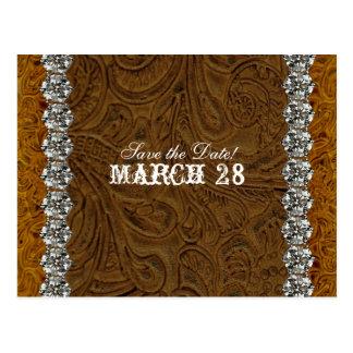 Rhinestone Cowboy Brown Leather Save the Date Postcard
