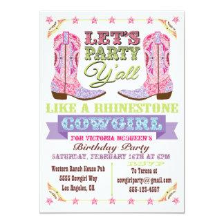 Rhinestone Cowgirl Birthday Party Invitations