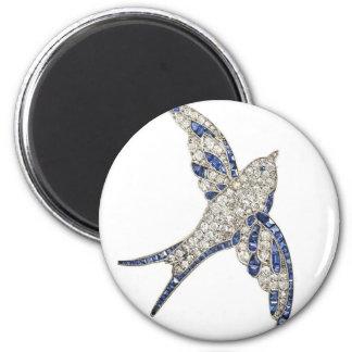 Rhinestone Diamonds Bird Vintage Costume Jewelry 2 Inch Round Magnet