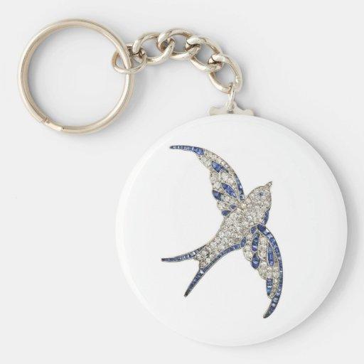 Rhinestone Diamonds Bird Vintage Costume Jewelry Basic Round Button Keychain