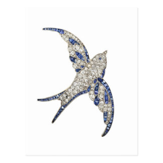 Rhinestone Diamonds Bird Vintage Costume Jewelry Postcard
