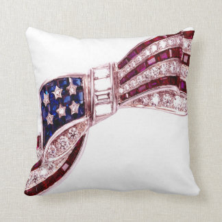 Rhinestone Flag Bow Sofa Bling Throw Pillow