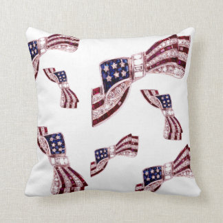 Rhinestone Flag Bows Vintage Costume Jewelry Throw Pillow