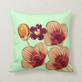 Rhinestone Flower Throw Pillow