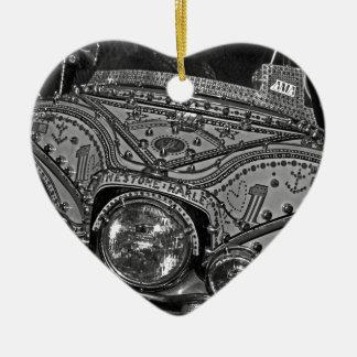 Rhinestone Harley in bw Ceramic Ornament
