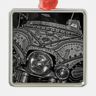 Rhinestone Harley in bw Metal Ornament
