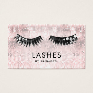 rhinestone lashes on faux sequin makeup artist business card