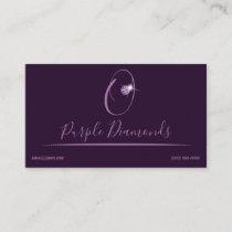 Rhinestone Logo Initial O Business Cards Purple