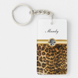 Rhinestone Monogram Keychains Leopard Spots