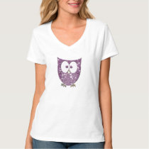 Rhinestone Purple Glitter Bling (Look) Owl Rocks T-Shirt