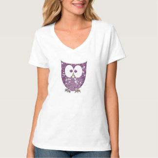 Rhinestone Purple Glitter Bling (Look) Owl Rocks T-Shirt