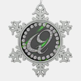 """rhinestone """"q"""" snowflake pewter christmas ornament"""