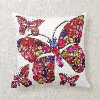 Rhinestone Rainbow Butterfly Sofa Bling Jewelry Throw Pillow