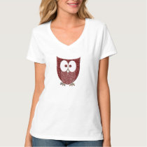 Rhinestone Red Faux Glitter Bling Owl T-Shirt