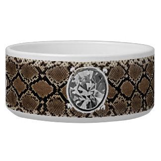 rhinestone Studded Collar in python skin Bowl