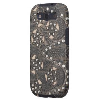 Rhinestone Studded tooled Leather Galaxy S3 Case