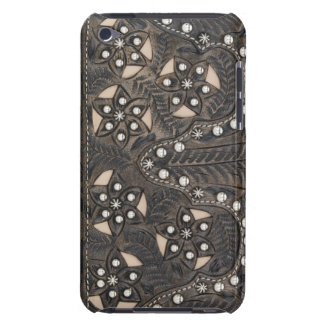 Rhinestone Studded tooled Leather iPod Touch Case-Mate Case