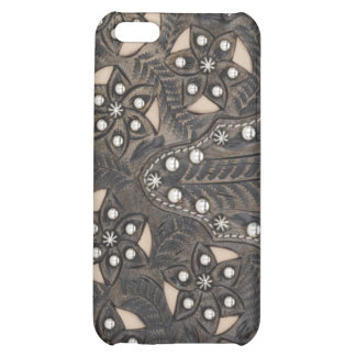 Rhinestone Studded tooled Leather iPhone 5C Case