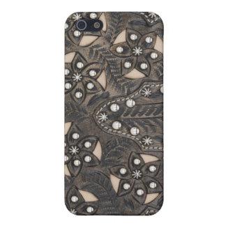 Rhinestone Studded tooled Leather iPhone 5/5S Cases