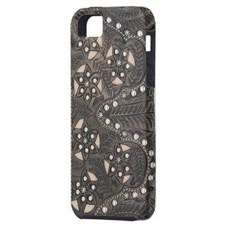 Rhinestone Studded tooled Leather iPhone SE/5/5s Case
