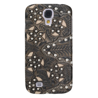 Rhinestone Studded tooled Leather Samsung Galaxy S4 Cover