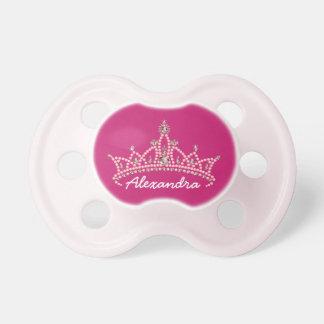 Rhinestone Tiara Graphic Baby Pacifier (fuchsia)