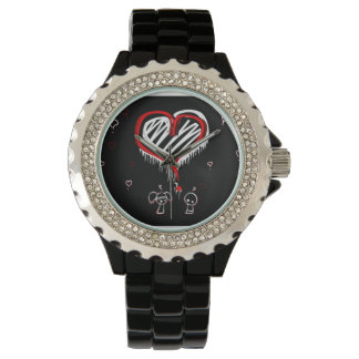 Rhinestone watch with Emo Heart