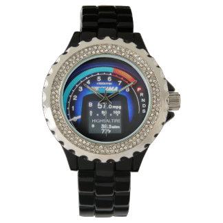 Rhinestone with Black Enamel rev counter watch