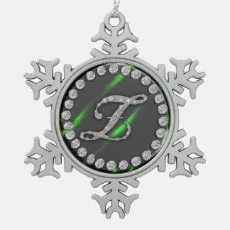"rhinestone ""z"" snowflake pewter christmas ornament"