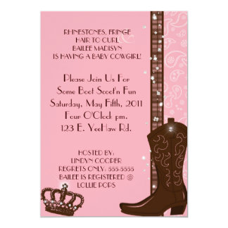 "RHINESTONES, FRINGE & PINK COWGIRLS Invitation 5"" X 7"" Invitation Card"