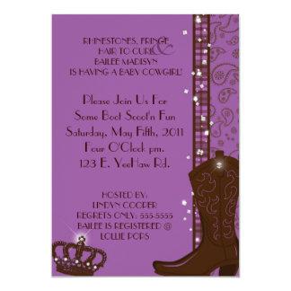 "RHINESTONES, FRINGE & PURPLE COWGIRLS Invitation 5"" X 7"" Invitation Card"