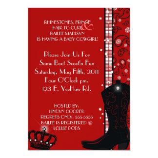 "RHINESTONES, FRINGE & RED COWGIRLS Invitation 5"" X 7"" Invitation Card"