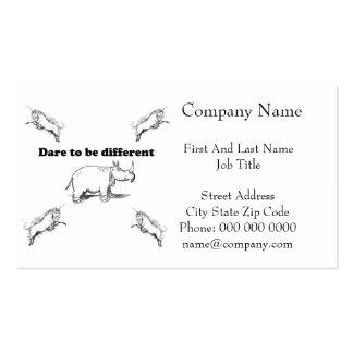 Rhino Among Unicorns Dare to be Different Cartoon Business Card Templates