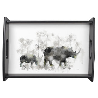 RHINO AND BABY SERVING TRAY