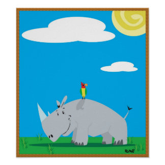 Rhino and Bird Poster