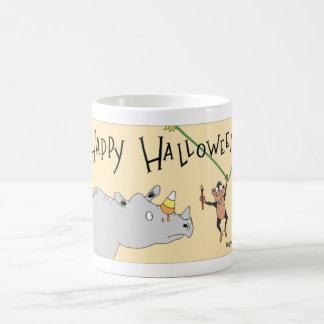 Rhino and chimp celebrate Halloween Coffee Mug