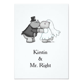 Rhino and Hippo Wedding Invitation