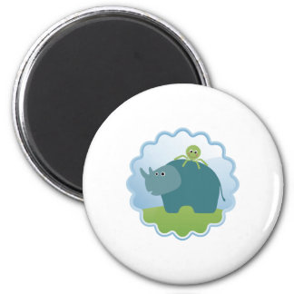 Rhino and Octopus! 2 Inch Round Magnet