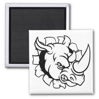 Rhino Angry Sports Mascot Breaking Background Magnet