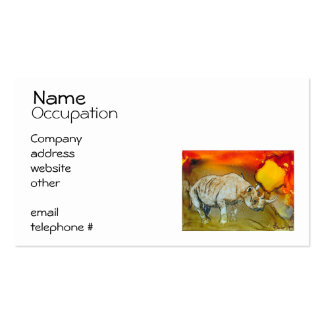 Rhino At Sunset Business Card Template
