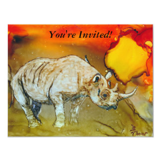 Rhino At Sunset Card