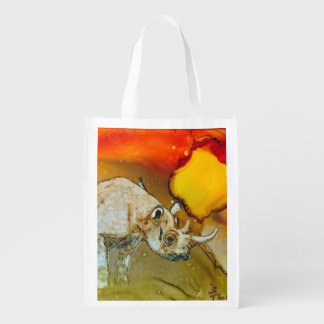 Rhino at Sunset Grocery Bags