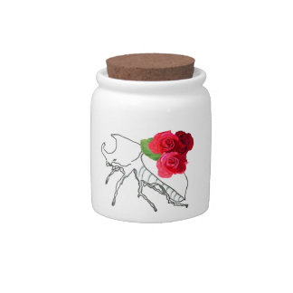 Rhino Beetle with Roses Candy Jar