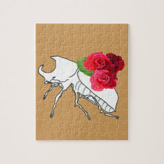 Rhino Beetle with Roses Jigsaw Puzzle